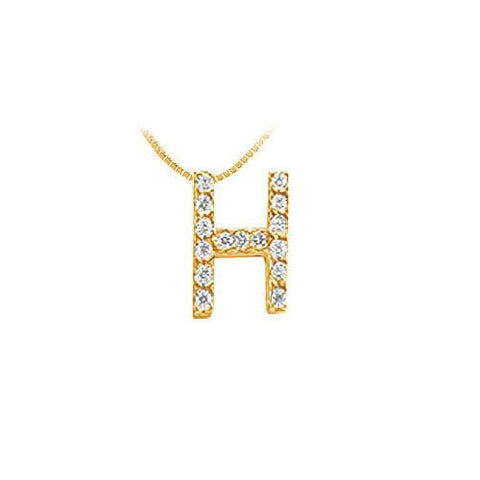 Classic H Initial Diamond Pendant : 14K Yellow Gold - 0.15 CT Diamonds