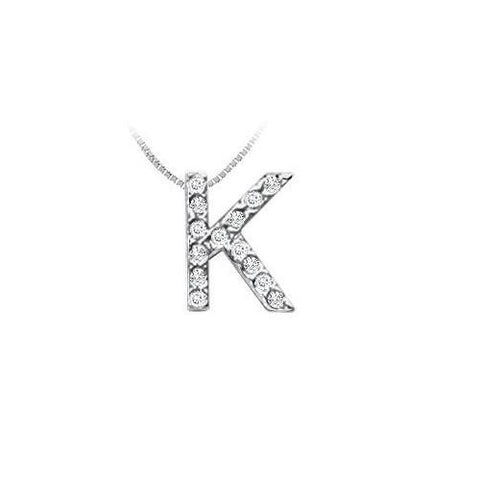 Classic K Initial Diamond Pendant : 14K White Gold - 0.15 CT Diamonds