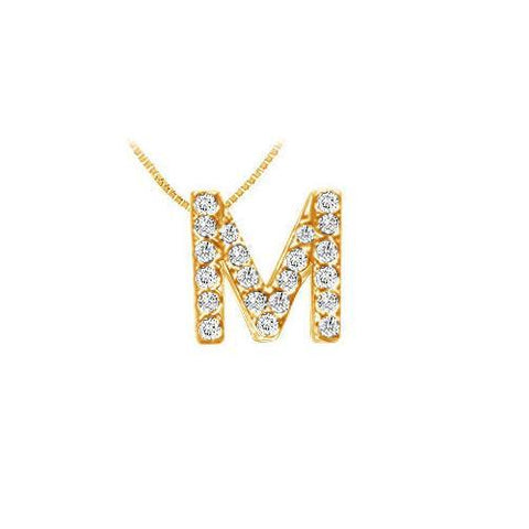 Classic M Initial Diamond Pendant : 14K Yellow Gold - 0.25 CT Diamonds