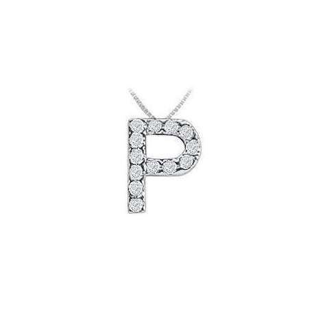 Classic P Initial Diamond Pendant : 14K White Gold - 0.15 CT Diamonds