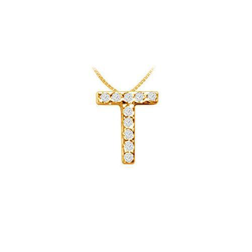 Classic T Initial Diamond Pendant : 14K Yellow Gold - 0.10 CT Diamonds