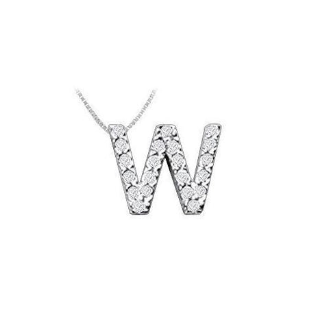 Classic W Initial Diamond Pendant : 14K White Gold - 0.25 CT Diamonds