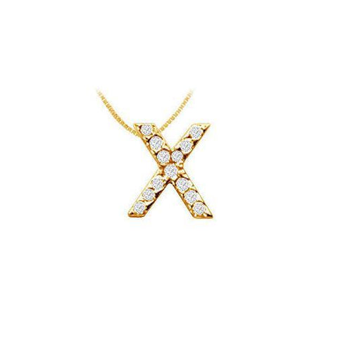 Classic X Initial Diamond Pendant : 14K Yellow Gold - 0.15 CT Diamonds