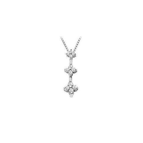 Diamond Flowers Pendant : 14K White Gold - 0.25 CT Diamonds
