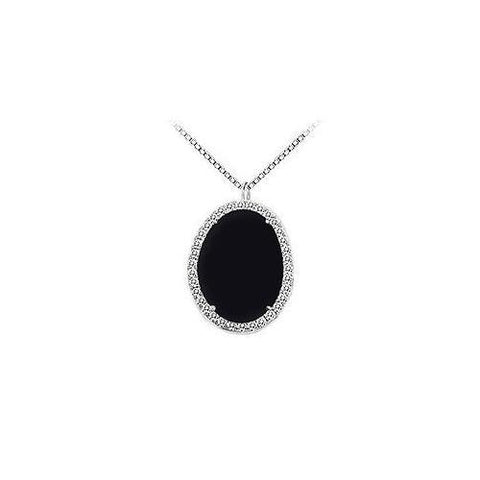 Sterling Silver Black Onyx and Cubic Zirconia Pendant 16.00 CT TGW