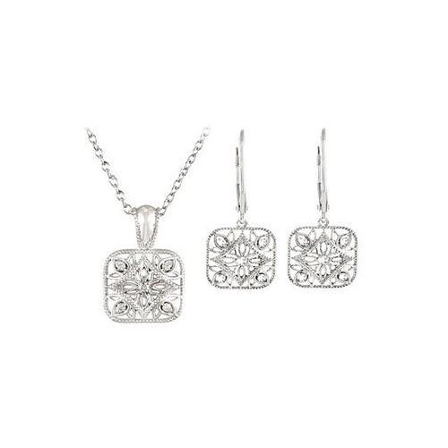 Sterling Silver Diamond Necklace and Lever Back Earrings Sets -  0.10 CT TW