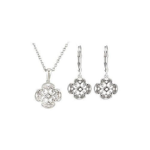 Sterling Silver Diamond Necklace and Lever Back Earrings Sets -  0.15 CT TW