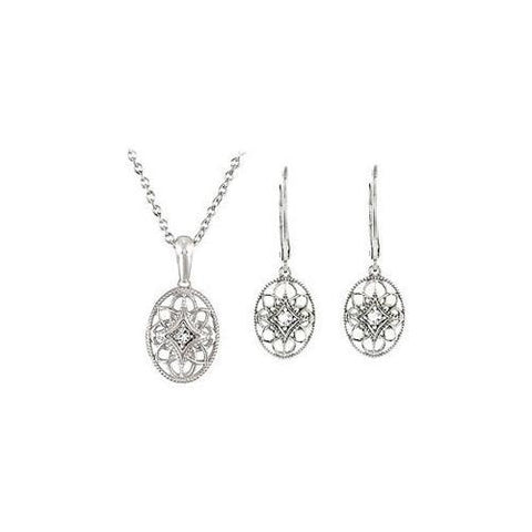 Sterling Silver Diamond Necklace and Lever Back Earrings Sets -  0.09 CT TW