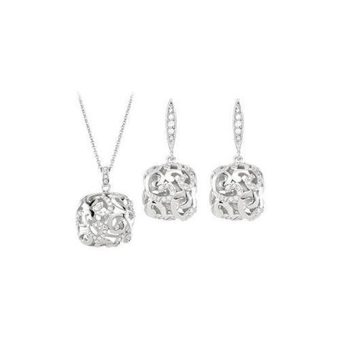Cubic Zirconia and  Sterling Silver Rhodium Plated Necklace with Pair Push Back Earrings Set