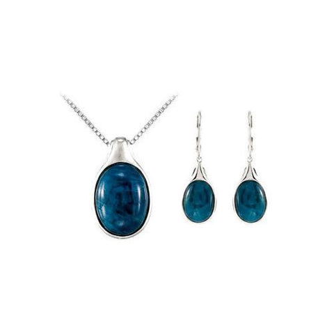 Sterling Silver Genuine Opaque Apatite Pendant with Earrings Set - 13.85 CT TGW