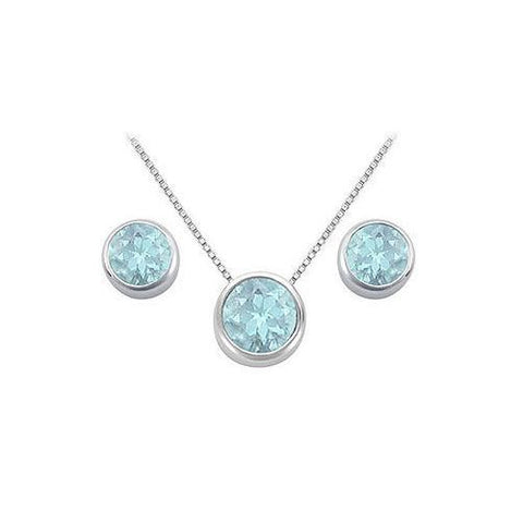 Aquamarine Pendant and Stud Earrings Set in Sterling Silver 2.00 CT TGW