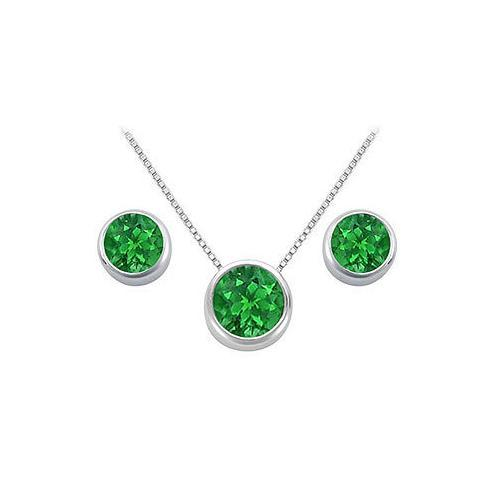 Emerald Pendant and Stud Earrings Set in Sterling Silver 2.00 CT TGW