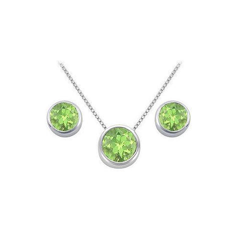 Peridot Pendant and Stud Earrings Set  in Sterling Silver 2.00 CT TGW