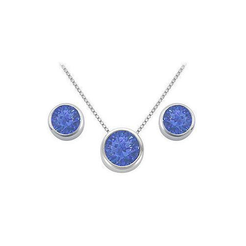 Sapphire Pendant and Stud Earrings Set in Sterling Silver 2.00 CT TGW