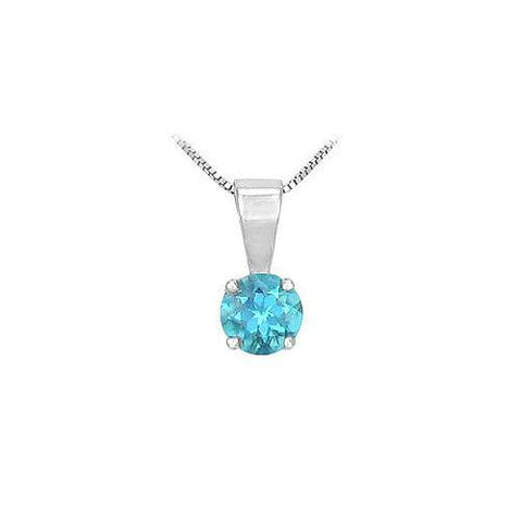 Blue Topaz Solitaire Pendant : 14K White Gold - 1.00 CT TGW