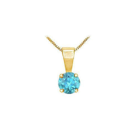 Blue Topaz Solitaire Pendant : 14K Yellow Gold - 1.00 CT TGW