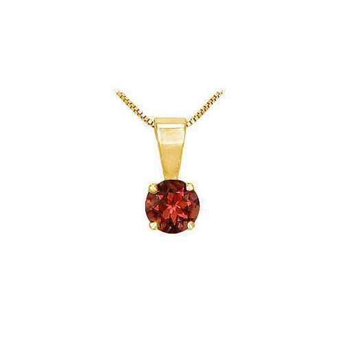 Garnet Solitaire Pendant : 14K Yellow Gold - 1.00 CT TGW