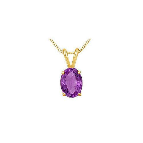 Amethyst Solitaire Pendant : 14K Yellow Gold - 1.00 CT TGW
