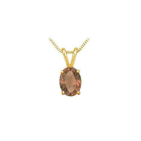 Smoky Topaz Solitaire Pendant : 14K Yellow Gold - 1.00 CT TGW