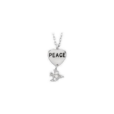 "Youth Engraved ""Peace"" with Cubic Zirconia Dove Dangle Pendant : .925 Sterling Silver - 19.26 X"