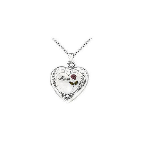 "Sterling Silver ""Mom"" Heart Locket with Rose Pendant - 27.00 X 18.70 MM"
