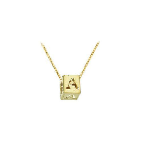 "14K Yellow  Alphabet  ""A""  Semi-Polished Block Initial Chain Slide Pendant with Outside Diameter"