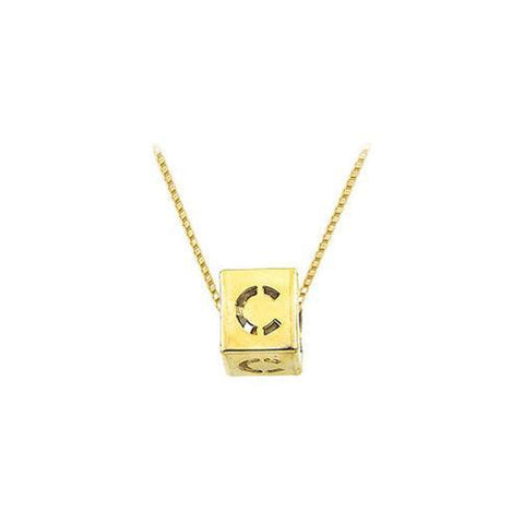 "14K Yellow  Alphabet  ""C""  Semi-Polished Block Initial Chain Slide Pendant with Outside Diameter"