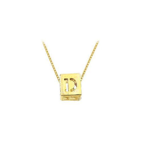 "14K Yellow  Alphabet  ""D""  Semi-Polished Block Initial Chain Slide Pendant with Outside Diameter"