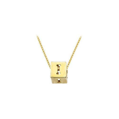 "14K Yellow  Alphabet  ""I""  Semi-Polished Block Initial Chain Slide Pendant with Outside Diameter"