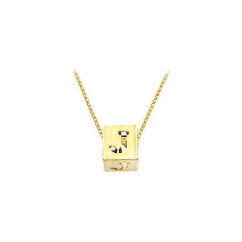 "14K Yellow  Alphabet  ""J""  Semi-Polished Block Initial Chain Slide Pendant with Outside Diameter"