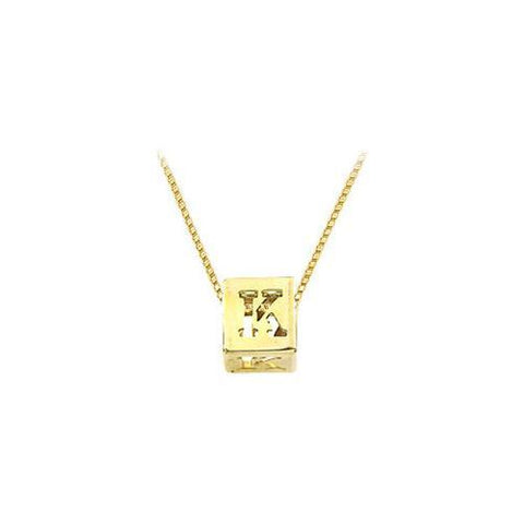 "14K Yellow  Alphabet  ""K""  Semi-Polished Block Initial Chain Slide Pendant with Outside Diameter"