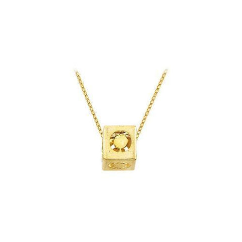 "14K Yellow  Alphabet  ""O""  Semi-Polished Block Initial Chain Slide Pendant with Outside Diameter"