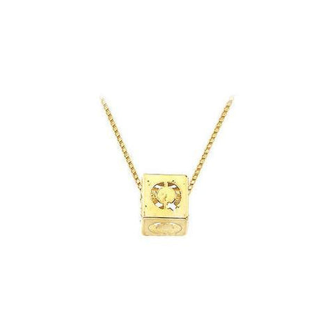 "14K Yellow  Alphabet  ""Q""  Semi-Polished Block Initial Chain Slide Pendant with Outside Diameter"