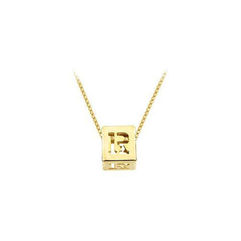 "14K Yellow  Alphabet  ""R""  Semi-Polished Block Initial Chain Slide Pendant with Outside Diameter"