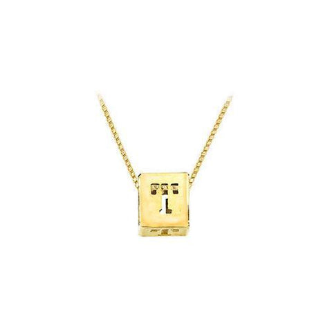 "14K Yellow  Alphabet  ""T""  Semi-Polished Block Initial Chain Slide Pendant with Outside Diameter"