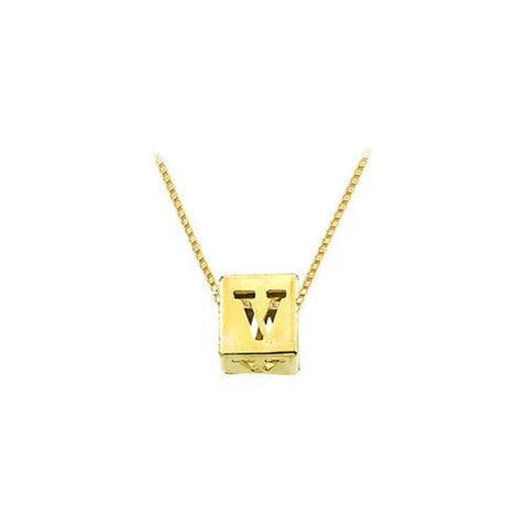 "14K Yellow  Alphabet  ""V""  Semi-Polished Block Initial Chain Slide Pendant with Outside Diameter"