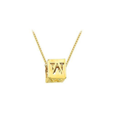 "14K Yellow  Alphabet  ""W""  Semi-Polished Block Initial Chain Slide Pendant with Outside Diameter"