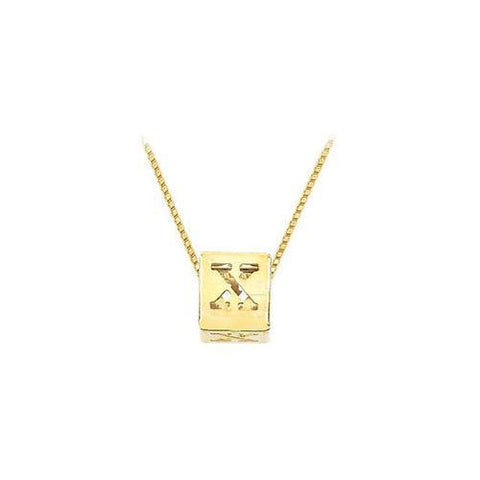 "14K Yellow  Alphabet  ""X""  Semi-Polished Block Initial Chain Slide Pendant with Outside Diameter"