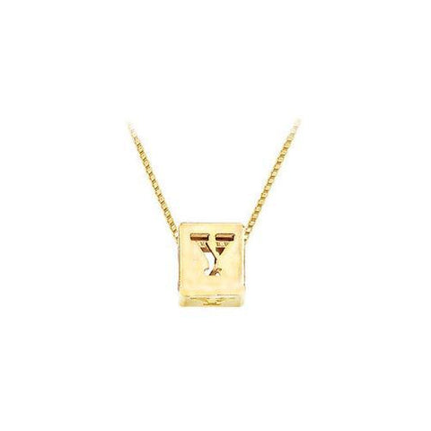 "14K Yellow  Alphabet  ""Y""  Semi-Polished Block Initial Chain Slide Pendant with Outside Diameter"