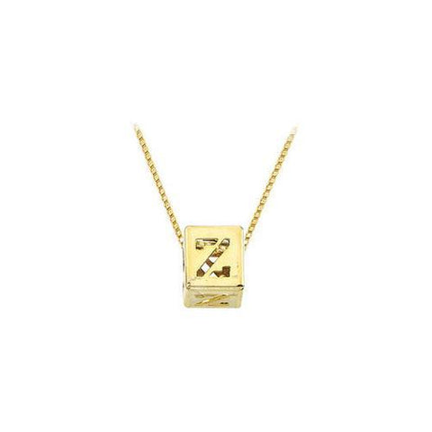 "14K Yellow  Alphabet  ""Z""  Semi-Polished Block Initial Chain Slide Pendant with Outside Diameter"
