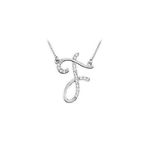 Cubic Zirconia Letter F Script Initial Pendant : .925 Sterling Silver - 0.10 CT TGW