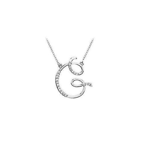Cubic Zirconia Letter G Script Initial Pendant : .925 Sterling Silver - 0.10 CT TGW