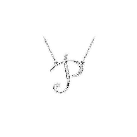 Cubic Zirconia Letter P Script Initial Pendant : .925 Sterling Silver - 0.10 CT TGW