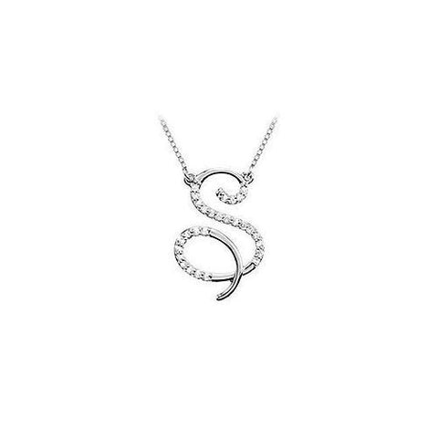 Cubic Zirconia Letter S Script Initial Pendant : .925 Sterling Silver - 0.10 CT TGW