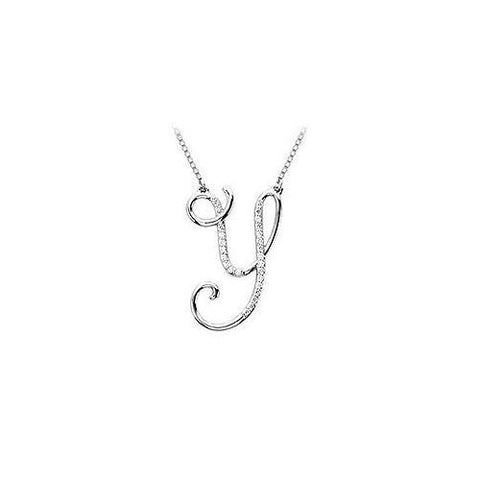 Cubic Zirconia Letter Y Script Initial Pendant : .925 Sterling Silver - 0.15 CT TGW