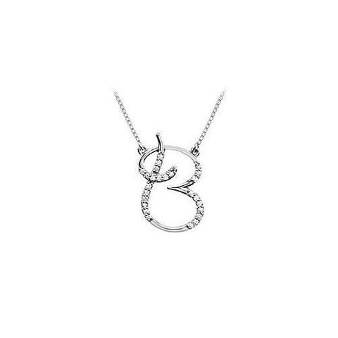 Diamond Letter B Script Initial Pendant : 14K White Gold - 0.15 CT Diamonds