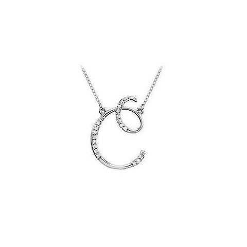 Diamond Letter C Script Initial Pendant : 14K White Gold - 0.10 CT Diamonds