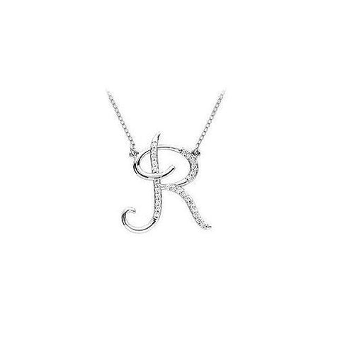 Diamond Letter R Script Initial Pendant : 14K White Gold - 0.15 CT Diamonds