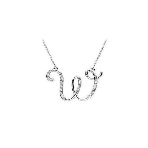 Diamond Letter W Script Initial Pendant : 14K White Gold - 0.10 CT Diamonds