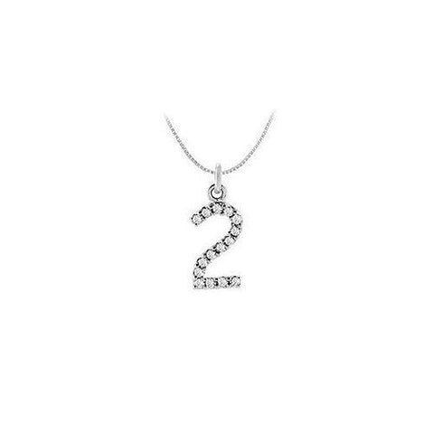 Cubic Zirconia Numeric 2 Charm Pendant : .925 Sterling Silver - 0.07 CT TGW